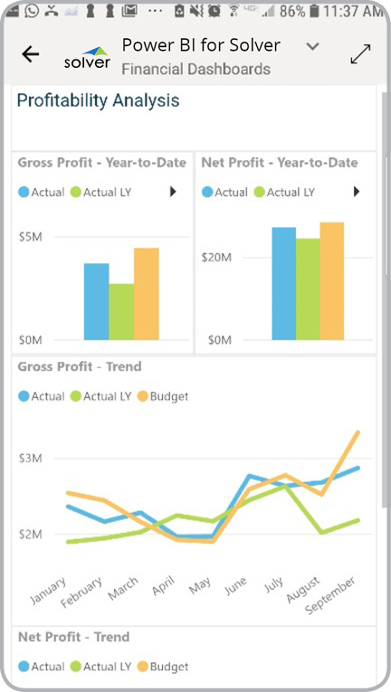 Power BI mobile dashboard profit kpi