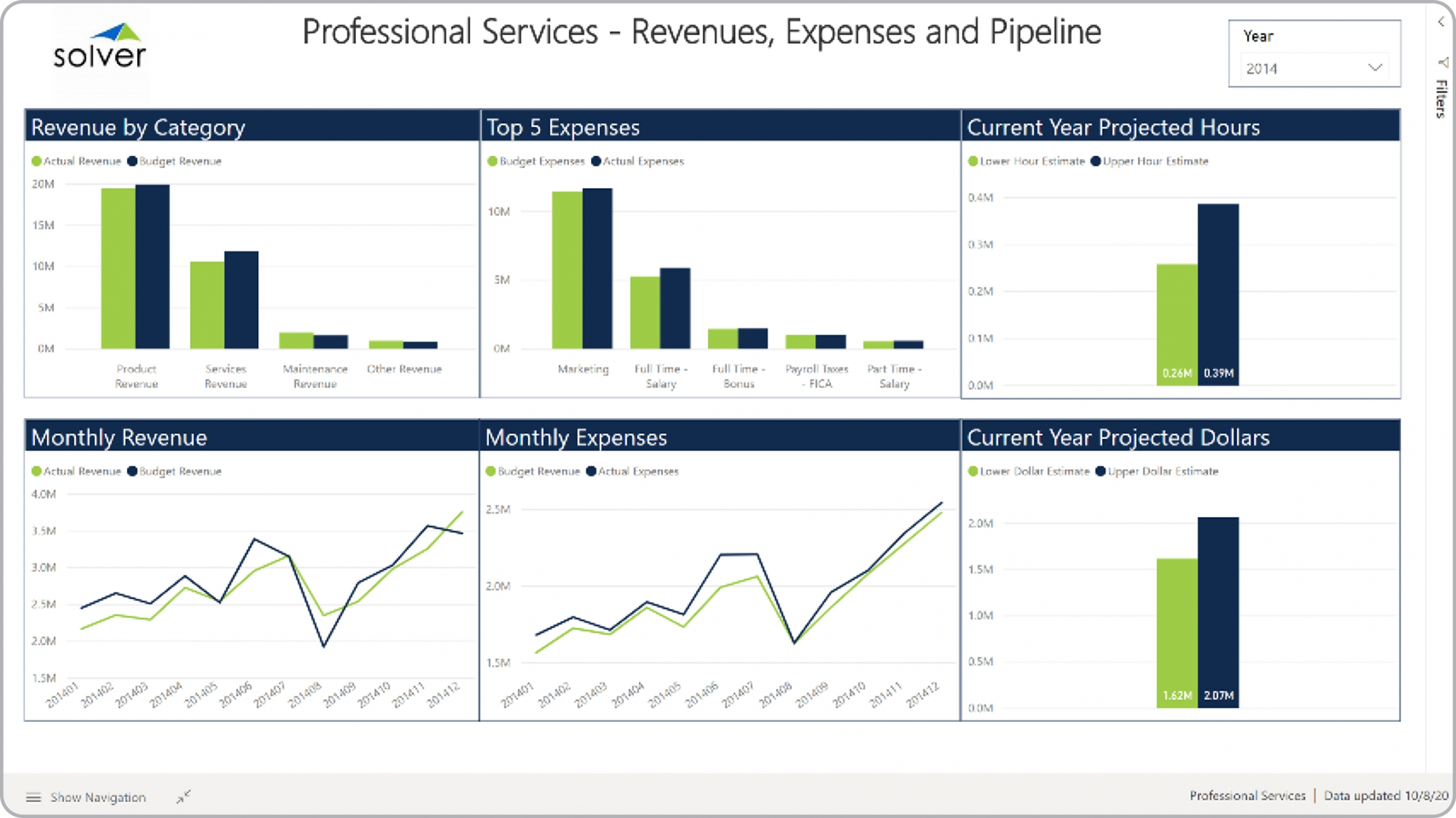 Example of a Revenue and Expense Dashboard for a Professional Services Company