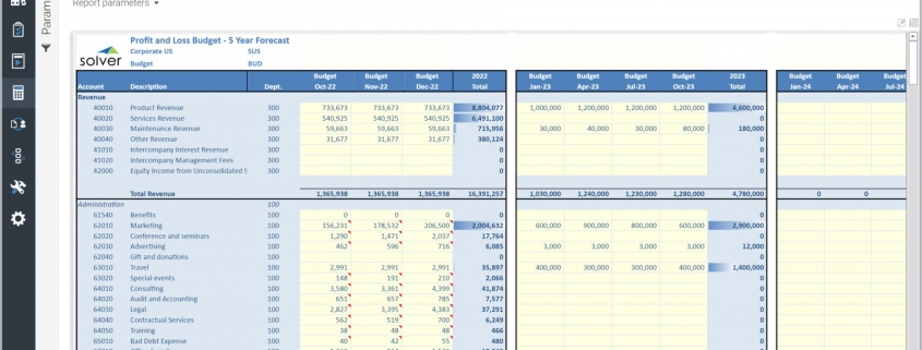 Multi-Year Forecast Input Template Example