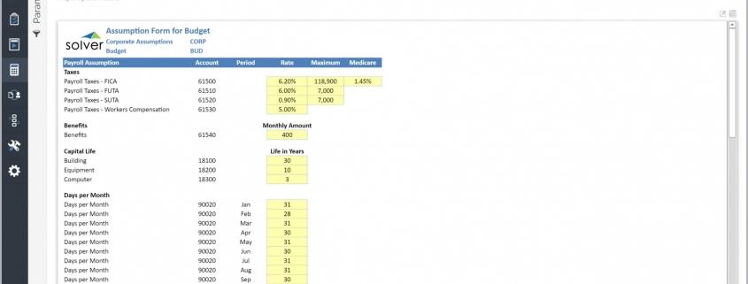 Payroll Budget Assumption Input Form Example