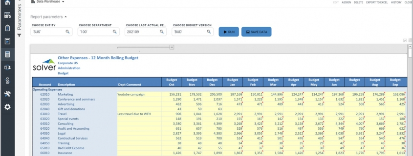 Rolling 12 Month Budget Input Form Example