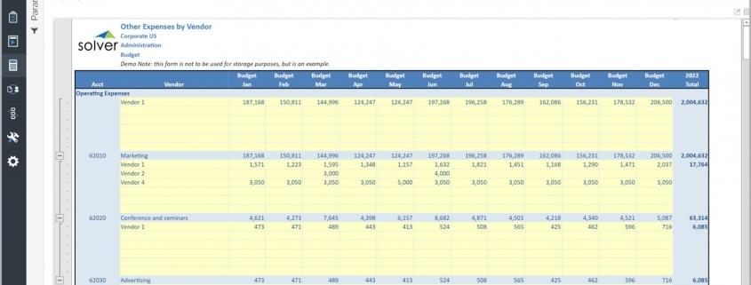 Vendor Expense Budget Input Form Example