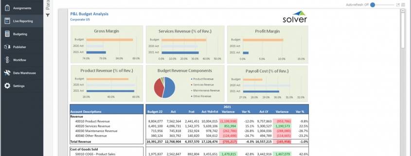 Profit & Loss Budget Analysis Report Example