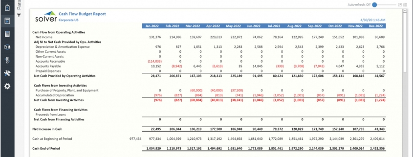 Cash Flow Budget Report Example