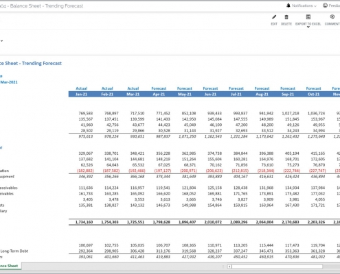 Monthly Balance Sheet Forecast Report Example