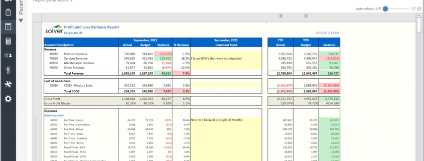 Profit & Loss Report with Text Comment Column Example