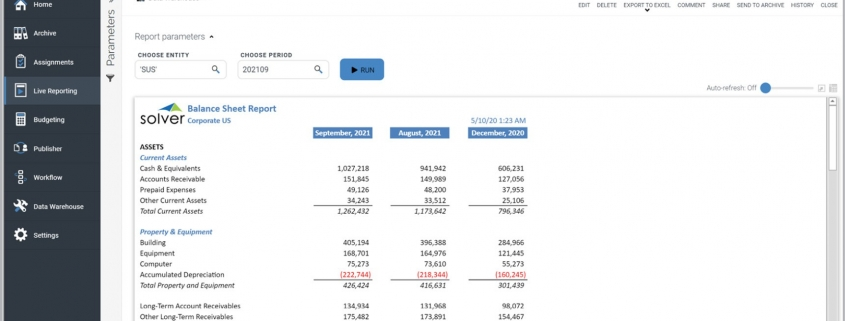 Monthly Balance Sheet with Prior Month and Last Year Comparisons Example