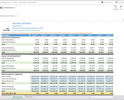 Departmental Allocation Report Example
