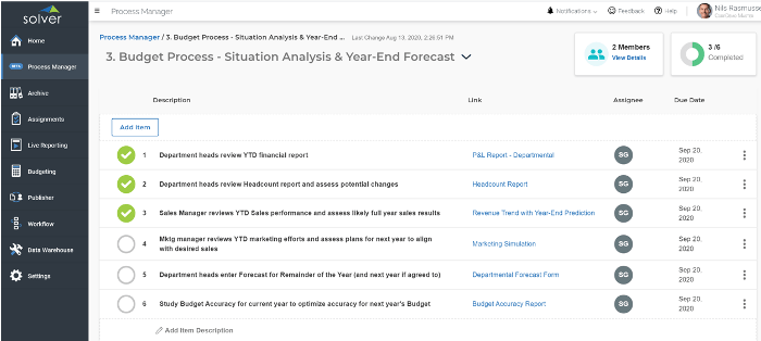 Year-End Forecast in the Solver Process Manager shows one example of how you can follow budgeting process best practices to stay ahead in uncertain economies