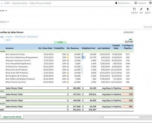 Opportunity Analysis by Sales Person Report Example