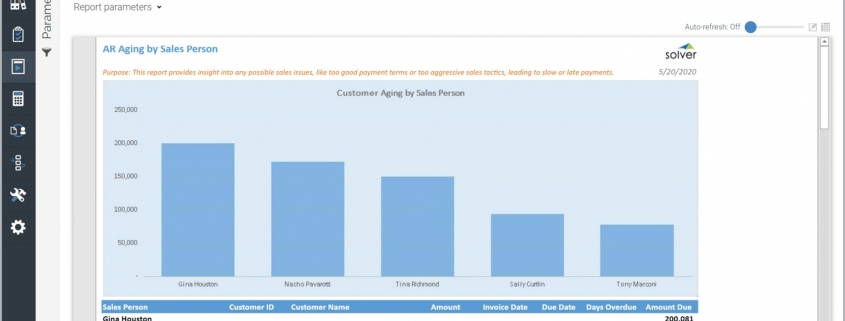 Customer Receivables Aging by Sales Person Report Example