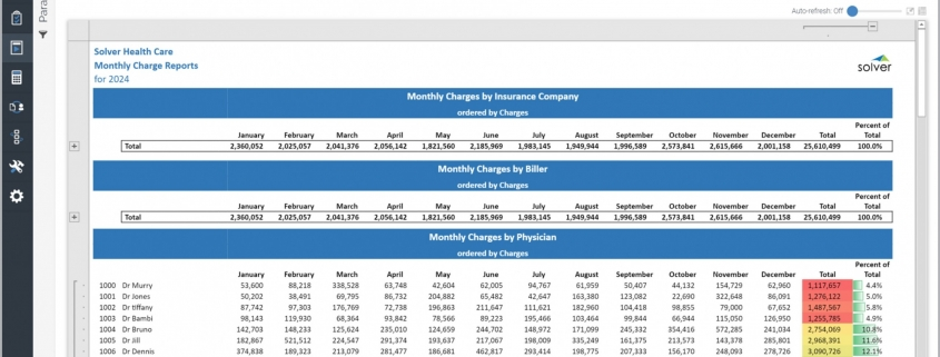 Monthly Charges Summary Report for a Healthcare Provider