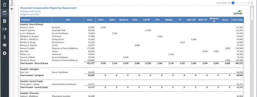 Example of a Payroll Budget Report by Department for a Healthcare Provider