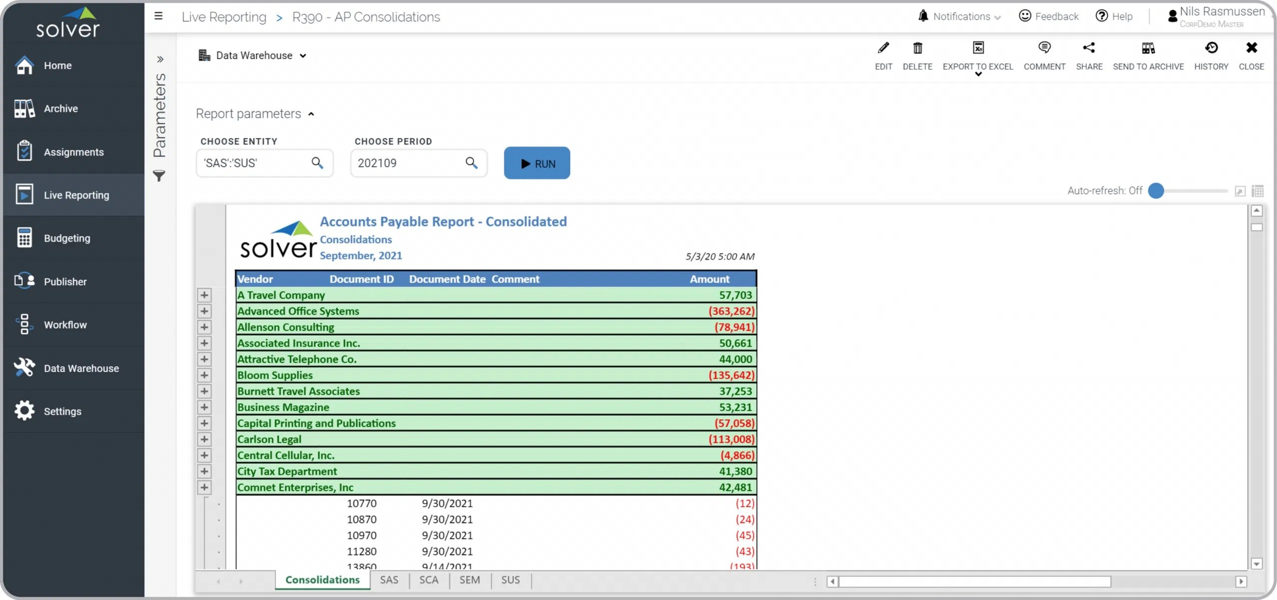 Consolidated Accounts Payable AP Report
