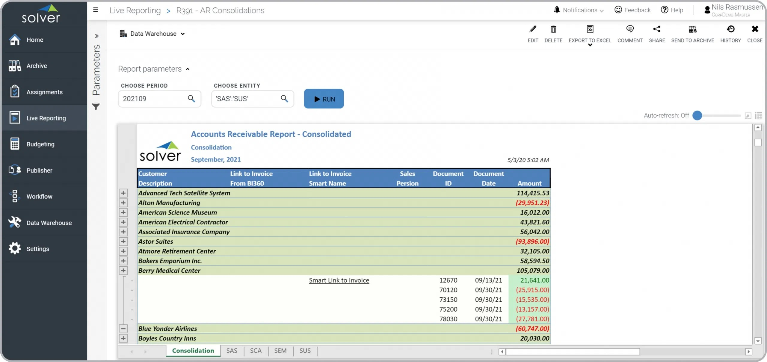 Consolidated Accounts Receivable AR Report