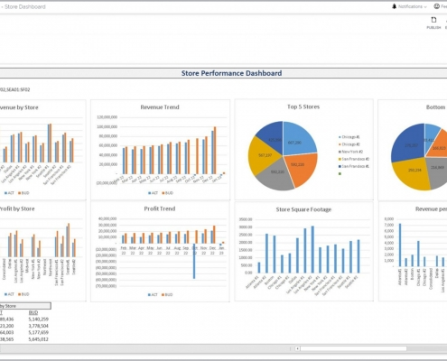 Example of a Store Performance Dashboard for a Retail Company