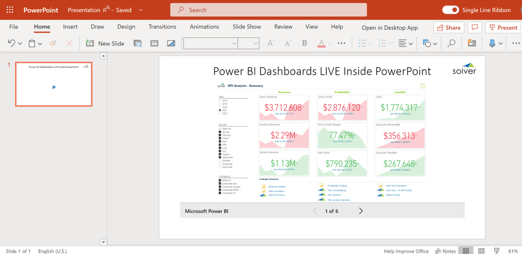 Power BI inside PowerPoint