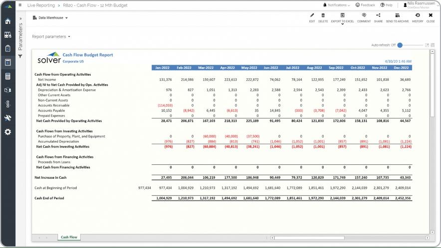 cash flow budget report