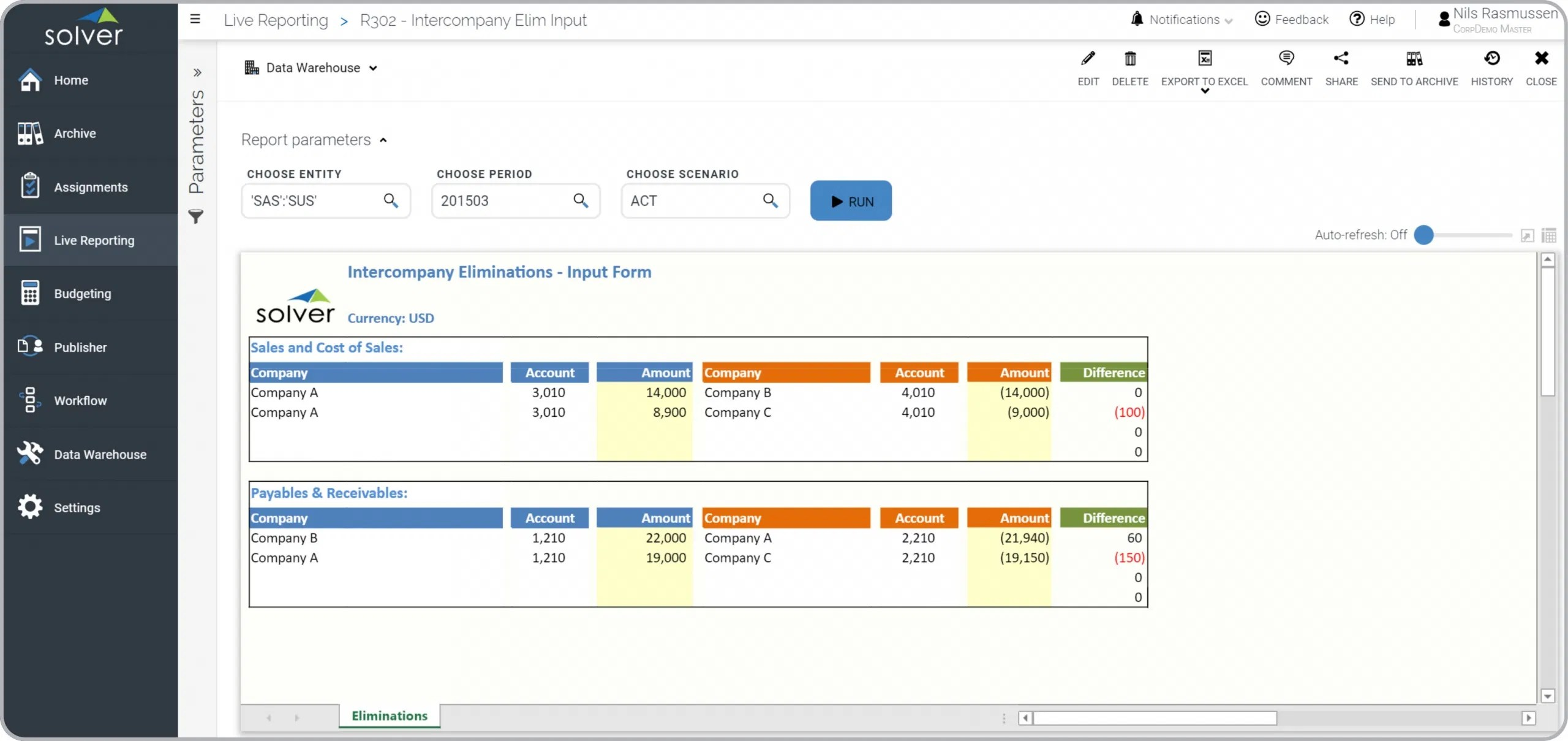 intercompany eliminations – input form