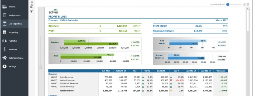 Example of an Profit & Loss Variance Report for a Distribution Company