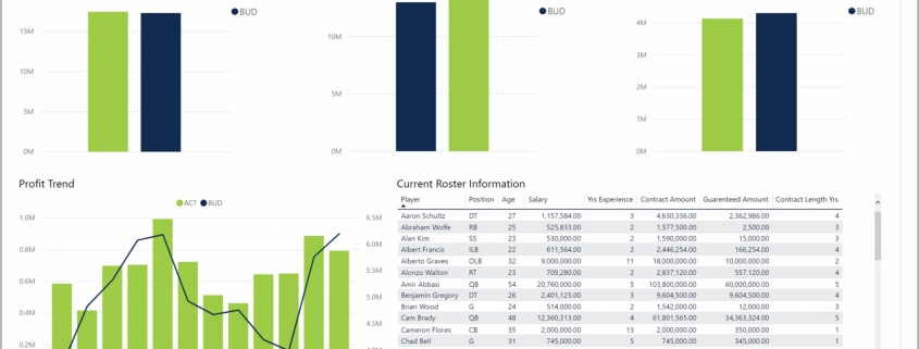 Example of a Financial Dashboard for Professional Sports Teams