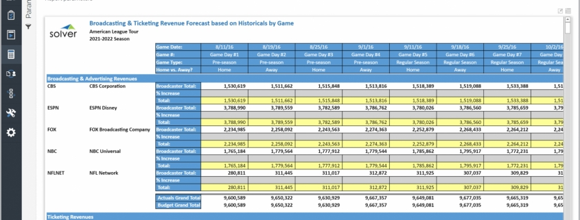Example of a Media and Ticket Revenue Forecast for Professional Sports Teams