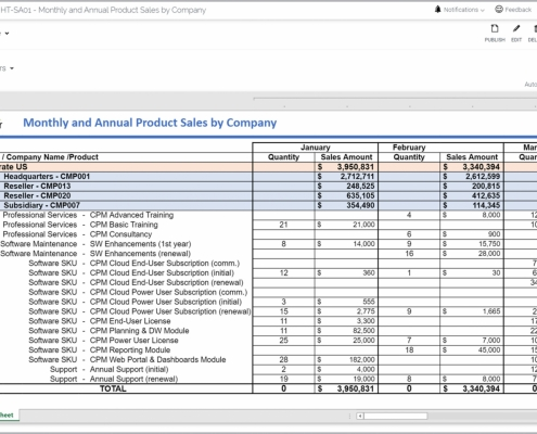 Example of a Monthly Product Sales Report for a Technology Company