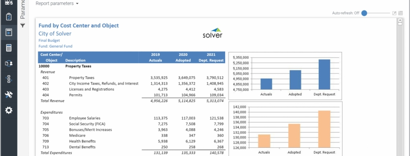 Example of a Revenue and Expenditure Budget Report by Fund for Public Sector Organizations