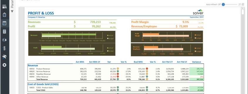 Example of a Profit & Loss Variance Report for Pharmaceutical Companies