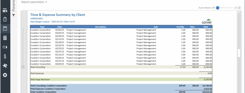 Example of a Time and Expense Summary Report by Client for Professional Services Companies