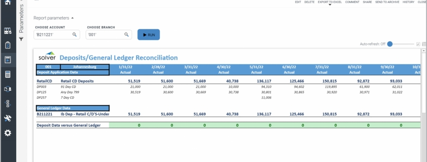 Example of a Deposit and GL Reconciliation Report for Credit Unions