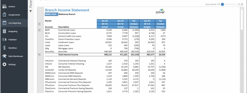 Example of an Income Statement Report for credit union branches
