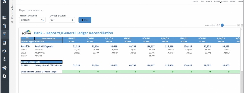 Example of a Deposit and GL Reconciliation Report for Banks