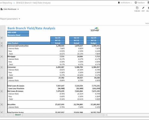 Example of a Yield and Rate Analysis Report by Bank Branch