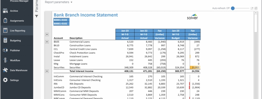 Example of an Income Statement Report for bank branches