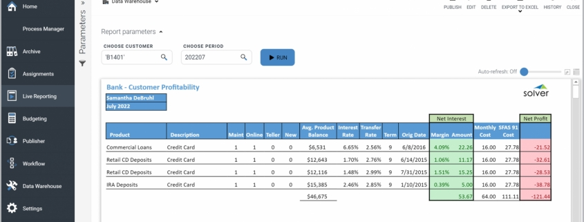 Example of a Profitability by Customer Report for Banks