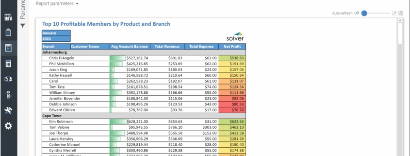 Example of a Top Ten Members by Profitability Report for credit unions