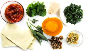 Butternut squash, lasagne, tomato sauce, kale, breadcrumbs, walnuts and parmesan cheese