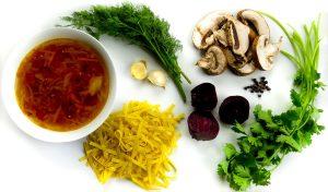 Shchi soup, beets, egg noodles, mushrooms, garlic, parsley and dill