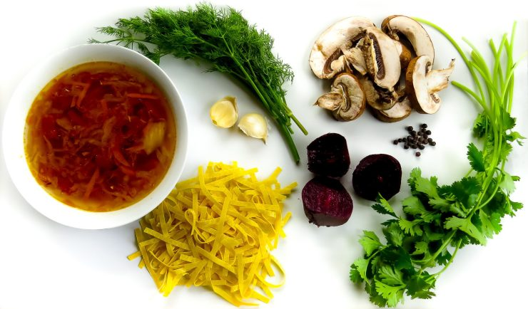Shchi soup, beets, egg noodles, mushrooms, garlic, parsley and dill
