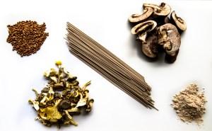 Soba noodles, buckwheat groats, buckwheat flour, dried mushrooms, sliced mushrooms