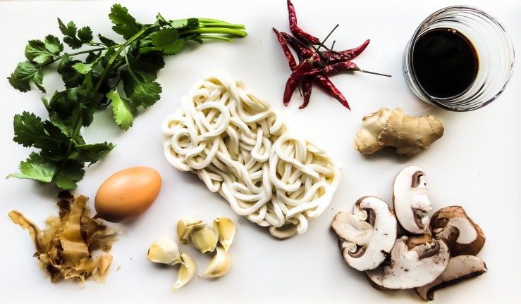 Ingredients for Garlicky Udon Soup