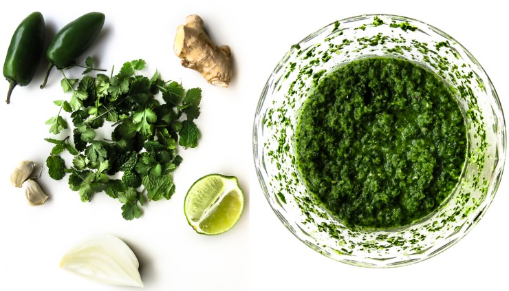 Cilantro-Mint Chutney ingredients and finished