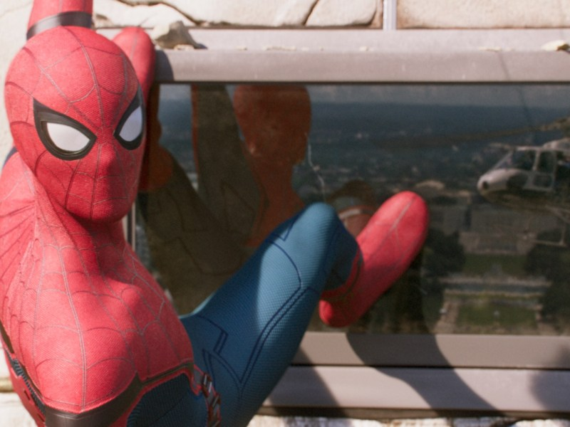 Spider-Man climbs the Washington Monument in Columbia Pictures' Spider-Man: Homecoming