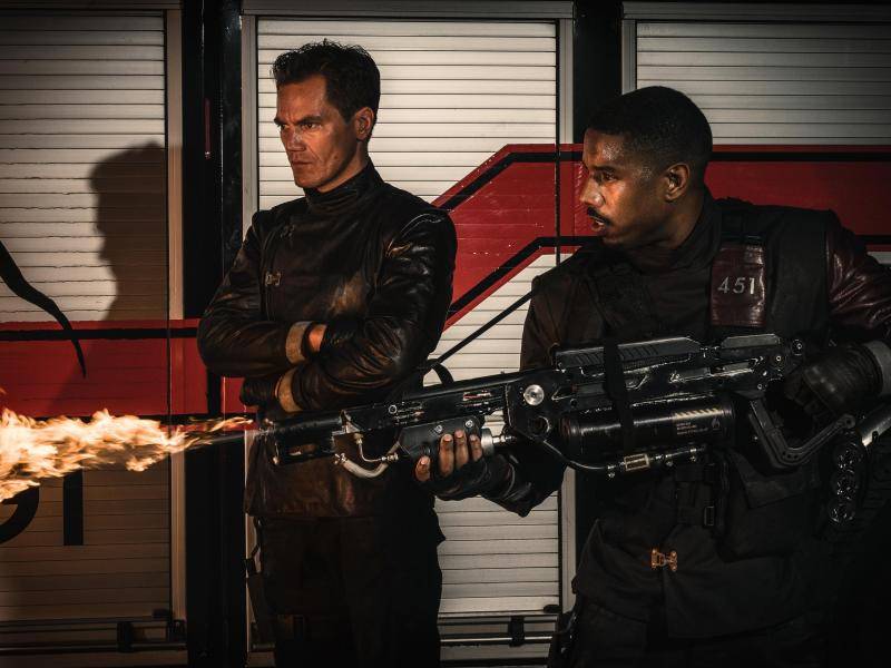 Michael Shannon and Michael B. Jordan in Fahrenheit 451.