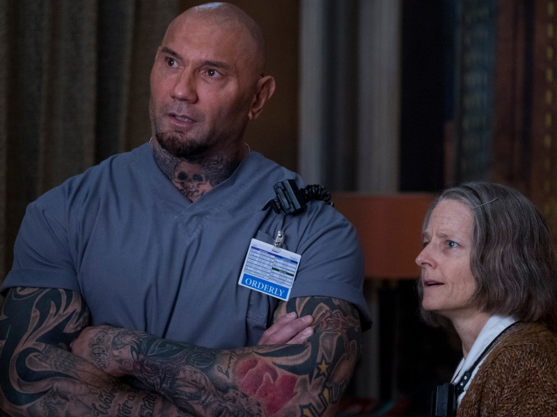 Dave Bautista and Jodie Foster in HOTEL ARTEMIS.