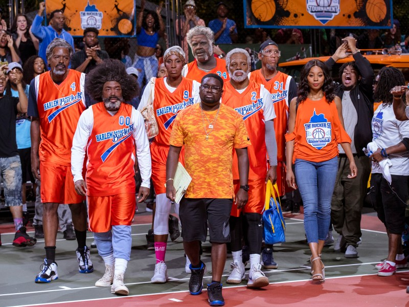 "From L to R: Chris Webber as ""Preacher,"" Nate Robinson as ""Boots,"" Lisa Leslie as ""Betty Lou,"" Shaquille O'Neal as ""Big Fella,"" Lil Rel Howery as ""Dax,"" Kyrie Irving as ""Uncle Drew,"" Reggie Miller as ""Lights,"" and Erica Ash as ""Maya"" in UNCLE DREW."