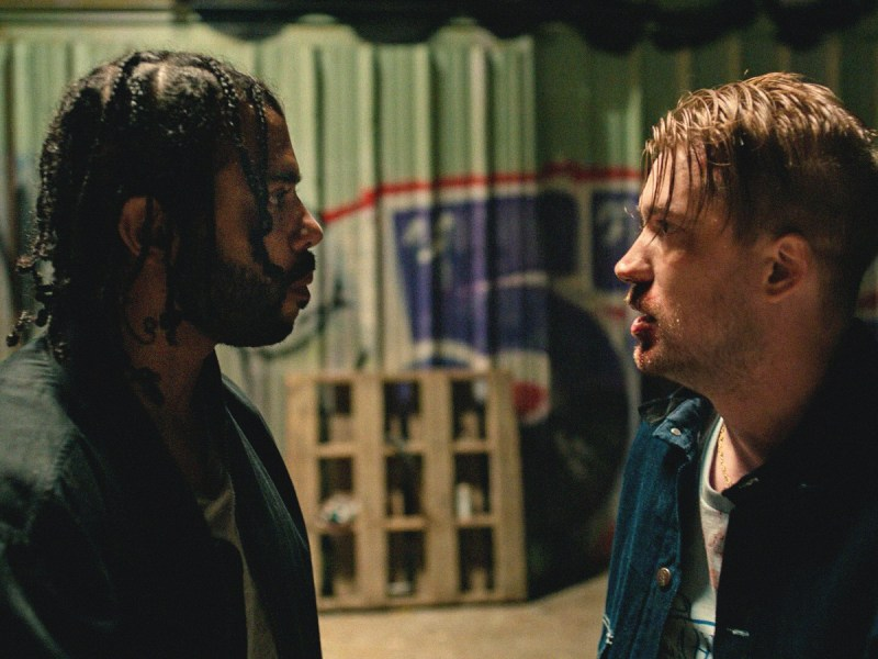 Daveed Diggs and Rafael Casal appear in Blindspotting by Carlos López Estrada.