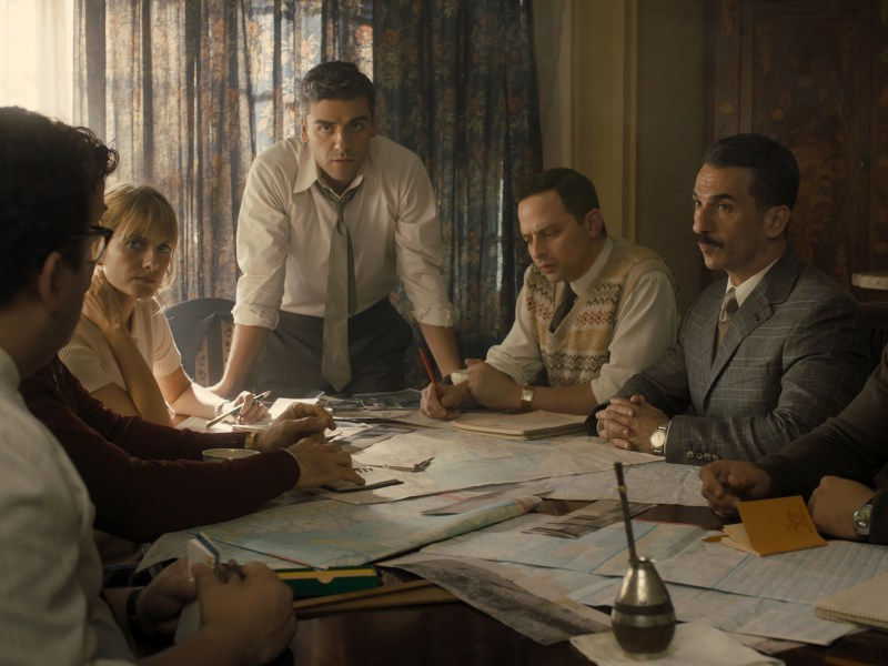 (From L to R) Mélanie Laurent as Hanna Regev, Oscar Isaac as Peter Malkin, Nick Kroll as Rafi Eitan, Michael Aronov as Zvi Aharoni, and Greg Hill as Moshe Tabor in OPERATION FINALE, written by Matthew Orton and directed by Chris Weitz, a Metro Goldwyn Mayer Pictures film.