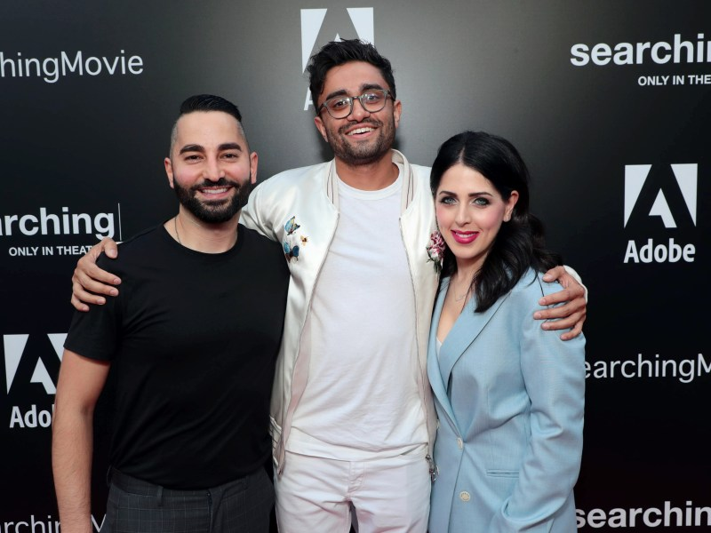 Los Angeles, CA - August 20, 2018: Sev Ohanian, Writer/Producer, Aneesh Chaganty, Director/Writer, Natalie Qasabian, Producer, attend the special screening of Screen Gems thriller SEARCHING at ArcLight Hollywood, sponsored by Adobe.